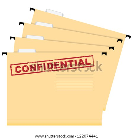 A set of folders with a stamp warning of privacy. Vector illustration. - stock vector