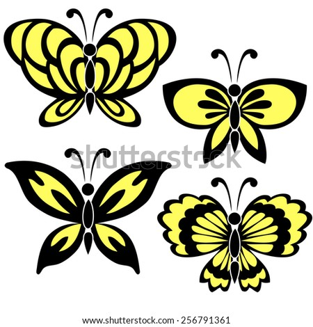 A set of four butterflies in yellow color with black contour on the white background - stock vector