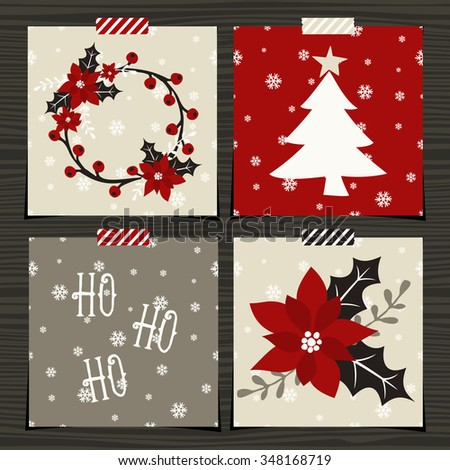 A set of four Christmas greeting card template designs on wood background. - stock vector
