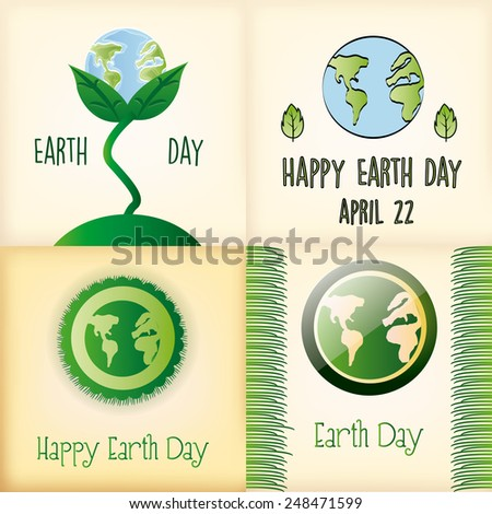 a set of four colored backgrounds with our planet and different elements for earth day - stock vector