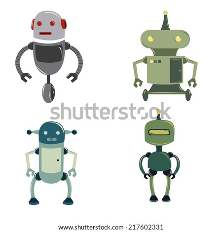a set of four colored robots on a white background - stock vector