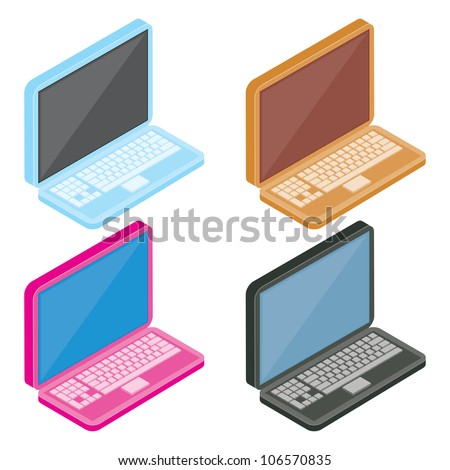 A set of four colorful isometric laptops with blank screen, ready for you to customize.