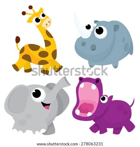 A set of four cute cartoon vector illustration of african wild animals (giraffe, rhinoceros, elephant and hippo). - stock vector