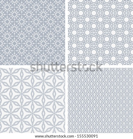 A set of four monochrome geometrical patterns. White, blue grille texture in Arabic, Oriental style. A seamless vector background.