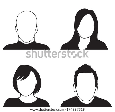 a set of four people silhouettes - stock vector