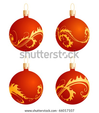 A set of four realistic balls decorated with an ornament