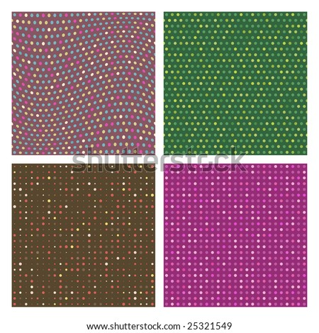 A set of four seamless polka dots vector patterns - stock vector