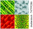 A set of four stylish seamlessly repeatable christmas backgrounds. Vector. - stock vector