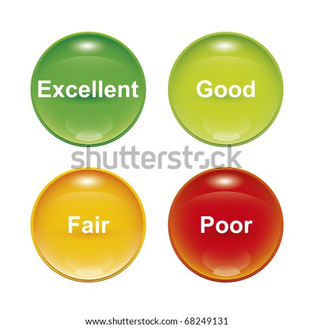 A set of four survey icons red yellow green - stock vector