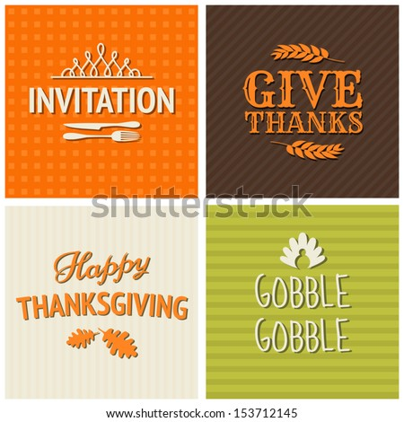 A set of four typographic design cards for Thanksgiving Day. - stock vector