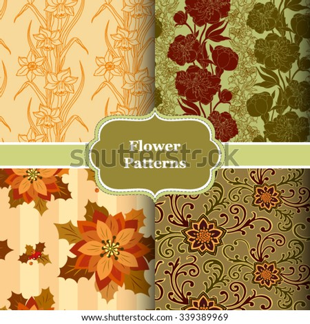 A set of four vector seamless patterns. Floral design for web, package, fabric and print products. - stock vector