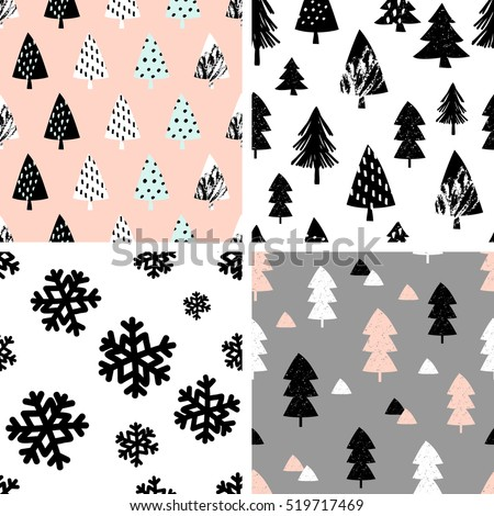 A set of four winter seamless repeat patterns with Christmas trees and snowflakes. Tiling festive background, greeting card or wrapping paper.