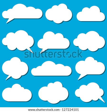 A set of  frames in the form of clouds. Vector illustration. - stock vector
