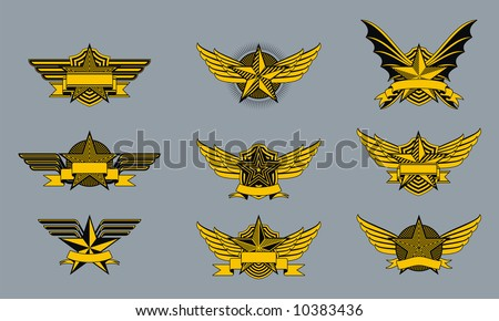 A set of funky little military style badges or emblems. - stock vector