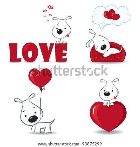 A set of funny dogs with hearts.Vector illustration. - stock vector