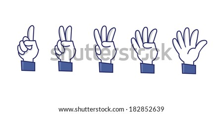 a set of funny hands making numbers - stock vector