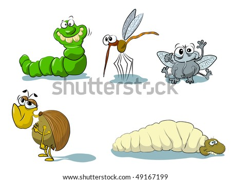 A set of funny insects, re- drawn version