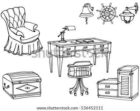 A Set Of Furniture For The Office In A Marine Style, For Interior  Decoration Of