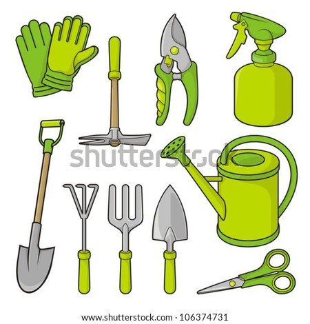 A set of gardening tool icons isolated on white background. - stock vector