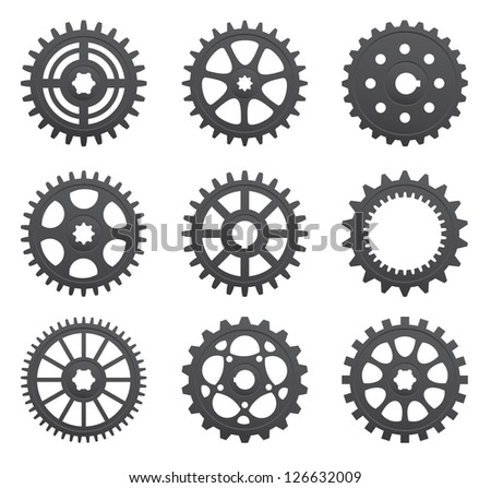 A set of gears and pinions on a white background.Vector - stock vector