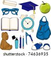 A set of geeky items every kid needs for a successful start of school. Each individually grouped. - stock vector