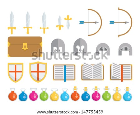 A set of geometric icons of classic elements found in fantasy and medieval settings. This is an Ai 10 file that does not contain transparencies, gradients, or blends.  - stock vector