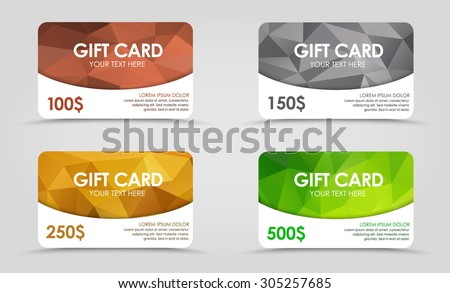 A set of gift (discount) cards with gold, silver, emerald and bronze geometric polygonal background. - stock vector