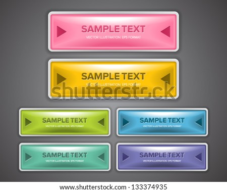 A set of glossy and colorful web buttons for website design purpose. - stock vector