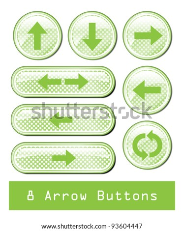 A set of 8 glossy arrow buttons. - stock vector