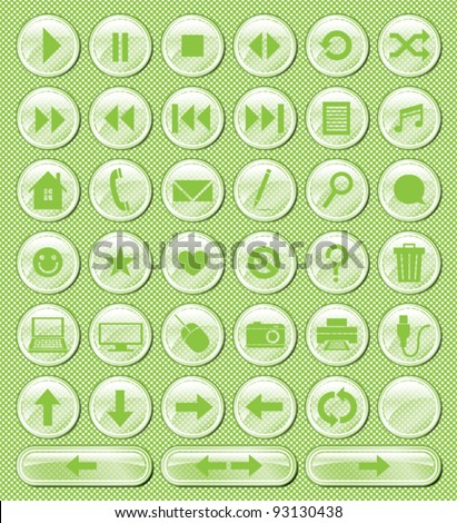 A set of 38 glossy buttons. - stock vector