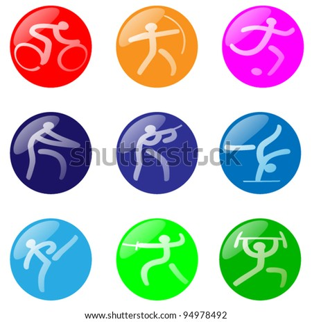 A set of 9 glossy spheres inspired by the Olympics. - stock vector