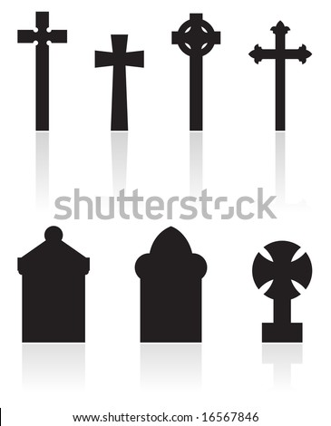 a set of gravestones silhouettes isolated on white - stock vector