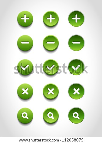 A set of green vector round web buttons - stock vector