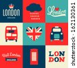 A set of greeting cards with London symbols. - stock