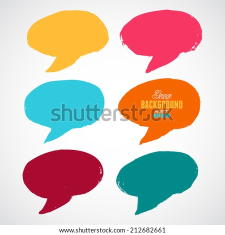A set of grunge colorful speech bubbles. - stock vector