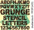 A Set of Grunge Stencil Letters - stock photo