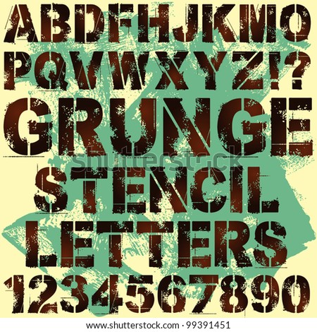 A Set of Grunge Stencil Letters - stock vector