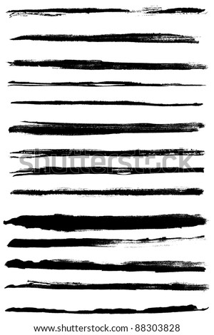 A set of grunge vector watercolor and ink  strokes (individual objects). Nice design elements for your projects - stock vector