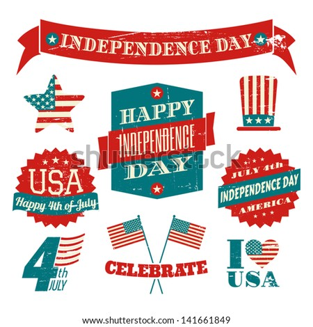 A set of grungy US Independence Day design elements isolated on white background. - stock vector