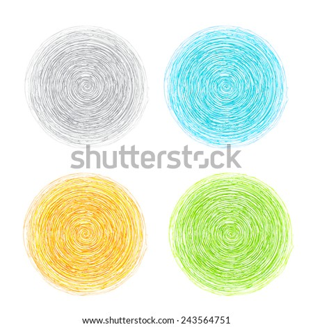 A set of hand drawn banners for your design. Circles doodled with a pencil. Vector illustration - stock vector