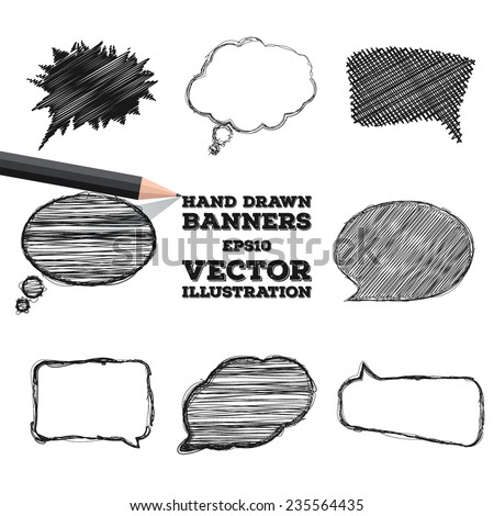 A set of hand drawn banners  for your design. Speech bubbles doodled with a black pencil. Vector illustration - stock vector