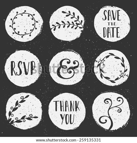 A set of 9 hand drawn chalkboard circles with floral decorative elements. - stock vector