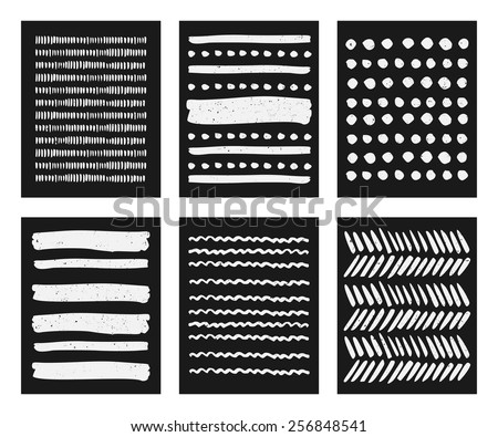A set of hand drawn chalkboard style patterns in black and white. Brush stroke pattern card templates. - stock vector