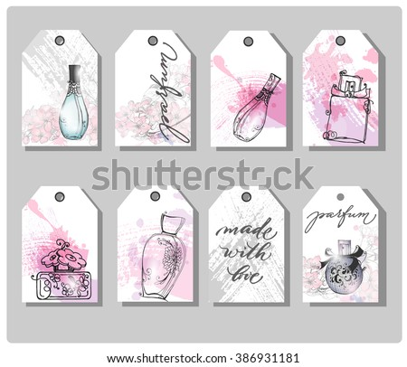 A set of hand drawn cute gift tags. Beautiful perfume bottle. Fashion and beauty background. Template Vector. - stock vector