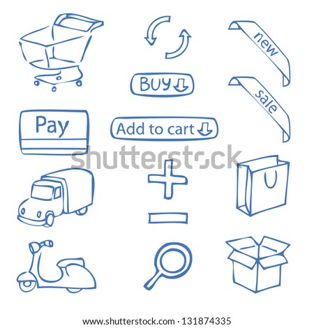 a set of hand-drawn icons for online shop - stock vector
