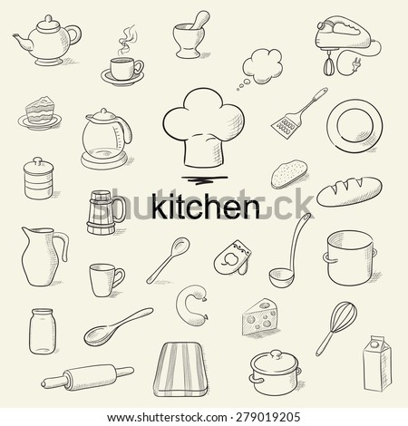 A set of hand drawn kitchen tools. Vector illustration. - stock vector