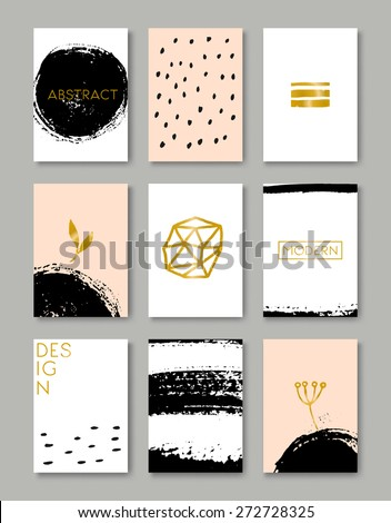 A set of hand drawn style greeting card templates in black, white, gold and peach pink. Abstract brush strokes and ink doodle designs with copy space. EPS 10 file, transparency effects used. - stock vector
