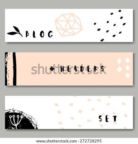 A set of hand drawn web headers in black, white and pastel pink. Abstract brush strokes and ink doodle designs with copy space. EPS 10 file, transparency effects used. - stock vector