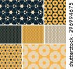 a set of 7 hexagon based, coordinated, seamless patterns, in an ivory, marine blue, and yellow color palette. - stock vector