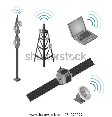 A set of hi tech communication Icons. Communication Icons.  hi tech wireless communication set. - stock vector